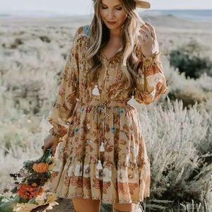 Golden Floral Ruffle Fall Boho Long Sleeve Dress